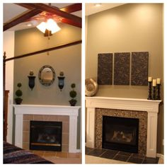 A before and after #fireplace redo with mosaic tile
