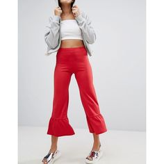 Bershka Cropped Frill Edge Pant (30 AUD) ❤ liked on Polyvore featuring pants, capris, red, red trousers, elastic waist pants, frilly pants, stretch waist pants and slim fit trousers