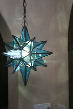 Moravian star pendant light antique mirrored glass 21 paddock moravian 14 5 blue topaz glass star light insured with canopy chain wiring ebay mozeypictures Choice Image