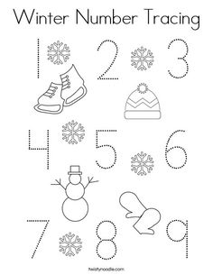 Winter Number Tracing Coloring Page - Twisty Noodle Number Worksheets, School Worksheets, Worksheets For Kids, Coloring Pages Nature, Coloring Pages Winter, Number Tracing, Tracing Letters, Winter Words, Preschool Printables