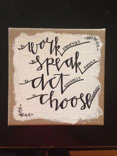 Chi Omega Burlap Canvas: Work. Speak. Act. Choose.