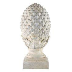 Piña blanca decorativa de resina blanca Al. 58 cm