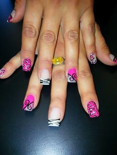 Hot Pink and French manicure