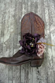 embellished cowboy boots | Fall boot bracelet, shabby chic scarf, embellished boot scarf, rustic ...