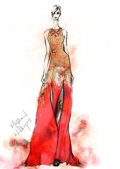 Sketch of the Imperial Eagle evening gown from the autumn / winter 2012 Matthew Williamson collection. Click to shop current season gowns. #illustration