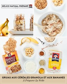 Make morning mealtime a breeze with this mix of bananas & oats, finished off with chopped bananas and Quaker® Harvest Crunch® Original Cereal.