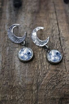 Galaxy Space Earrings - Crescent Moon Studs with Galaxy Drop - Solar System Planet Nebula Moon - Space Jewelry, Astronomy, Universe, Wedding...