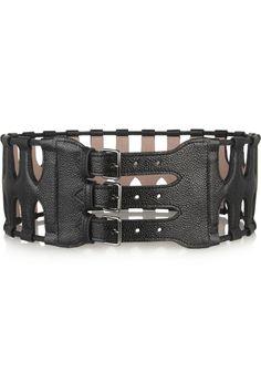 Alaïa | Cutout textured-leather waist belt