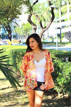 Floral Kimono, Kimono Cardigan, Kimono Robe, Kimono Jacket / Sheer Cover Up - One Size This sheer red, orange, yellow kimono cardigan is perfect for
