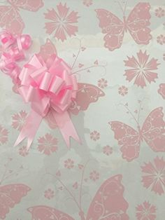 White Dot Cellophane Gift Wrap with Free Baby Pink Pull Bow Baby Pink Curling Ribbon /& Baby Girl Card 2 Metres