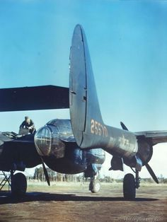 Close-up rear view of a P-61 Black Widow of the 9th Air Force.