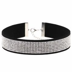 adc502ddd69d78 Black Leather Rhinestone Choker