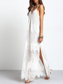 long boho white dress, split slip maxi dress, v neck maxi dress, gorgeous long maxi dress - Lyfie