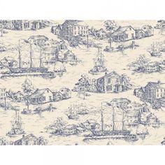 Scenic Nautical Toile - Wallpaper