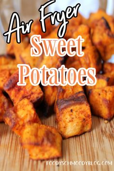 Sweet Potatoes diced, seasoned and cooked in an air fryer for a fraction of the time roasting takes. Wonderful fall side dish for weeknights, holidays or a great addition to breakfast bowls even. I've been known to to snack on them midday. Once you prepare your sweet potatoes in an air fryer you will not want to go back to roasted sweet potatoes. Cubed Sweet Potatoes, Roasted Sweet Potatoes, Recipe Form, Easy Vegetable Recipes, Delicious Recipes, Yummy Food, Quinoa Breakfast Bowl, Friend Recipe, Batch Cooking