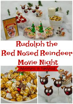 Ideas and Inspiration for a Rudolph the Red Nosed Reindeer Movie Night. It's the perfect Christmas family movie via Festive snacks, dessert ideas and family-friendly activities for a Family Christmas Movies, Christmas Movie Night, Christmas Party Themes, Christmas Treats, Christmas Time, Christmas Traditions, Holiday Ideas, Christmas Tables, Nordic Christmas