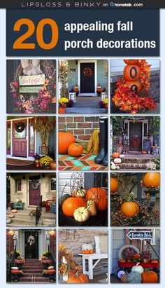 Porch Decorating Ideas ~ Make all your neighbors jealous with these fabulous fall front porch ideas—I love them all! Autumn Decorating, Porch Decorating, Decorating Ideas, Craft Ideas, Decor Ideas, Thanksgiving Decorations, Seasonal Decor, Fall Decorations, Halloween Decorations