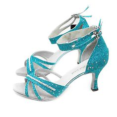 Sparkling Glitter Upper High Heel Ballroom Practice Dance Shoes for Women comfy dance shoes