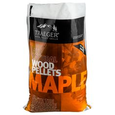 Traeger fuel is vital to mastering the art of cooking deliciously outdoors. For a dependable, balanced burn, our 100% natural hardwood pellets contain no fillers, binding agents or bark content, resulting in good, clean flavor. Bring out the natural flavor of your Beef, Veggies, and Pork with mildly sweet flavored Traeger Maple wood pellets.