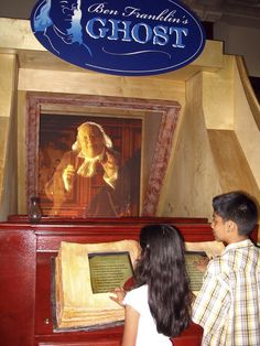 """Ben Franklin's Ghost - Interactive exhibit. Ask a question, or choose one from the """"book"""", and Ben Franklin magically appears to give you an answer"""