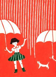 amaoto (via Higuchi Sakuya) Illustration Photo, Character Illustration, Graphic Illustration, Japan Illustration, Retro Graphic Design, Paper Collage Art, Art Japonais, Under My Umbrella, Japanese Art