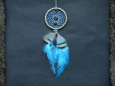 Small dream catcher rear view mirror charm dangle car mirror decor feather tiger eye boho hippie decoration accessory