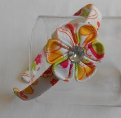 kanzashi grosgrain flower embellish with by TripleLynsBoutique
