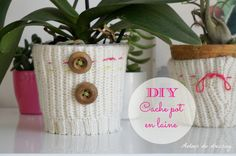 diy cache pot pull laine, recycler pull déco