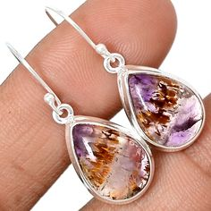 Cacoxenite Super Seven Mineral Melody Stone 925 Sterling Silver Earrings Jewelry CACE466