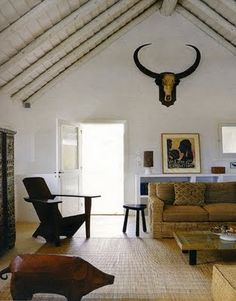 Buffalo Skull In Living Room Interior. Art Decor, Home Decor, Decoration,  Beautiful