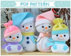 THIS LISTING IS FOR A DIGITAL ITEM / PDF PATTERN ONLY! WE DO NOT ISSUE REFUNDS ON MY DIGITAL PATTERNS! READ CAREFULLY BEFORE PURCHASE! This PDF sewing pattern is to make Snowman and family dolls from felt, their hats, Snowmans vest, scarves and Mrs. Snows Shawl. These dolls are hand sewn.