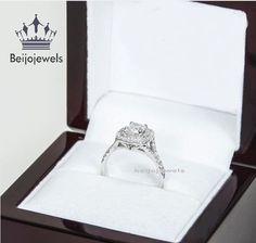 Round Cut 1.20 CT Diamond Solitaire Halo Engagement Ring 10K White Gold Over #Beijojewels #HaloEngagementRing