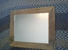 recycled barn board framed beveled mirror