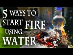 """5 Ways to Start a Fire, Using Water. Had to put this up here to remind me of this amazing find!! Science project ideas GALORE!!  I especially love the firestarter demonstration without matches or lighter.  Uploads from Grant Thompson - """"The King of Random"""" - YouTube"""