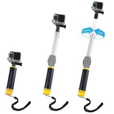 From Waterproof Telescopic Pole And Floating Hand Grip In One - For Gopro Hero 5 Black Session Hero 4 Session Black Silver Hero Lcd 3 3 2 1 - Extendable From To - With Cradle For Wifi Remote Gopro Hero 5, Remote Camera, Gopro Camera, Gopro Accessories, Photo Accessories, Photography Camera, Underwater Photography, Wedding Photography, Bobber