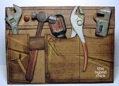 great DIY idea - wooden wall decor with pockets to hold tools - design looks like an actual tool belt.... so clever and creative!