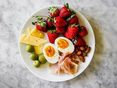 Easy Snack Breakfast | I'm a huge fan of Snack Dinner, so why not turn the concept into breakfast? Noshing on little bits of this and that is a happy way to start the day. I've included items that I typically have on hand—prosciutto, cheese, olives, nuts, hard-cooked eggs, and fruit.
