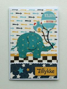 Tag small card - Kid birthday card with elephant & balloons Rayher elephant die - til og fra kort - fødselsdag - Carta Bella: Boy oh Boy paper pad  #balloon - JKE