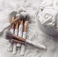 Beautiful marble makeup brushes