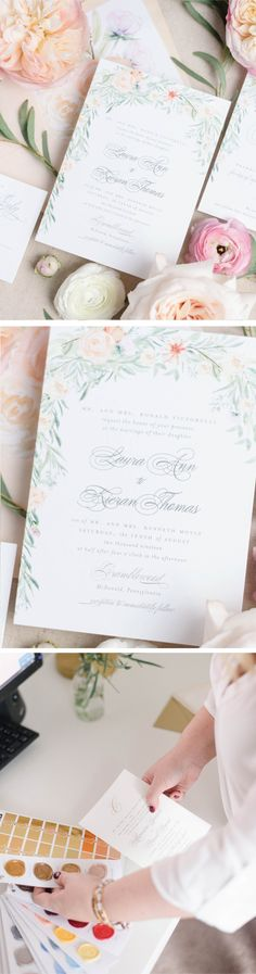 hand painted watercolor flowers in peach and greenery surround this formal wedding invitation Wedding Invitation Etiquette, Formal Wedding Invitations, Wedding Invitation Inspiration, Wedding Stationery, Boho Wedding Decorations, Wedding Ideas, Dusty Blue Weddings, Industrial Wedding, Handmade Wedding