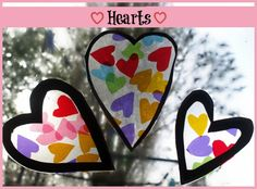 Easy Heart Window Decorations a fun craft for kids for Valentines Day