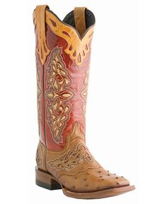Lucchese Sweetheart Horseman Full Quill Ostrich Cowgirl Boots - Square Toe