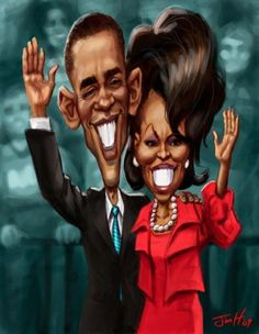 This is an example of caricature using the Obama's as the feature. Both their faces are made to look exaggerated by using color, form and an extensive use of space. In real life the Obama's don't look like this.  I pinned this cartoon from Elizabeth Gabriel. I chose this caricature is of president Obama and his wife Michelle because it does a very good job of exaggerating two public figures who we see everyday.
