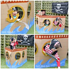 Cardboard-DIY-Pirate-Ship-photoprop-and-play-house-for-a-pirate-party.jpg - Cardboard-DIY-Pirate-Ship-photoprop-and-play-house-for-a-pirate-party. Deco Pirate, Pirate Day, Pirate Birthday, Pirate Theme, Boy Birthday, Pirate Flags, Pirate Ships, Pirate Photo Booth, Peter Pan Party