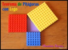 Educational activities with Lego: Pythagorean Theorem - Growing with Montessori (page can be translated from spanish) Educational Activities, Learning Activities, Activities For Kids, Legos, Lego Math, Maths, Pythagorean Theorem, School Projects, Mathematics