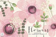 Watercolor pink flowers diy invite by GrafikBoutique on Creative Market