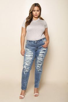 DETAILS A pair of plus size low rise skinny jeans with a button and a zipper closure. Ripped all over the front and finished leg openings. Low Rise Skinny Jeans, Plus Size Outfits, Legs, Denim, Size Clothing, Pants, Clothes, Beautiful, Black