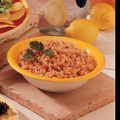 EASY-Mexican Rice- 1&1/2 cups water, 1 cup salsa, 2 chicken bouillon cubes, 2 cups uncooked instant white rice. Boil water, salsa & bouillon, add rice cook 6-8 minutes.
