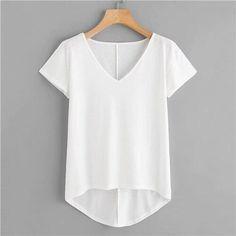 Dotfashion White Solid Dip Hem T-Shirt Women 2019 Casual Tops Tee Summer V Neck Short Sleeve Korean Fashion Clothes T Shirt Korean Fashion Summer, Casual Tops, Shirt Outfit, Outfit Of The Day, Dip, Fashion Outfits, Fashion Clothes, V Neck, Big T Shirts