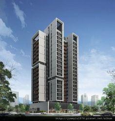 Condominium Architecture, Brick Architecture, Concept Architecture, Futuristic Architecture, Residential Architecture, Amazing Architecture, Building Exterior, Building Facade, Building Design